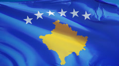 Kosovo flag in slow motion seamlessly looped with alpha Stock Footage