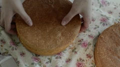 the woman in the apron making cake - stock footage