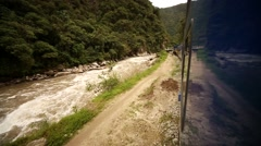 Train in Aguas Calientes in Peru (Machu Picchu city) - stock footage