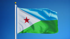 Djibouti flag in slow motion seamlessly looped with alpha Stock Footage