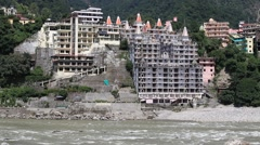 Holy Ganges river that flows through Rishikesh, India Stock Footage