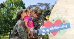Composite image of army couple kissing daughter - stock photo