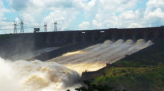 Water Spillway at Itaipu Dam, on the Border of Brazil and Paraguay Stock Footage