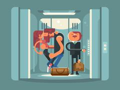 Couple kissing in the elevator - stock illustration