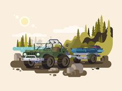 Jeep SUV with boat - stock illustration