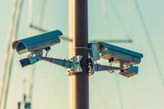 CCTV Security Cameras on the Pole. Public Places Surveillance Cameras Stock Photos