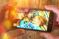 Family Vacation Memories. Photography Stored in a Cloud. Stock Photos