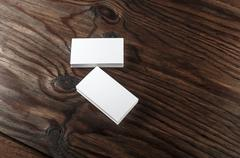 Blank white business cards - stock photo