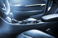 Modern Car Interior Design. Car Front Seats. Driving Concept Photo. Stock Photos