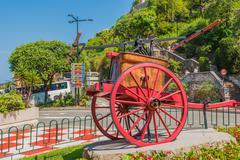 Monaco Vintage Fire Vehicle. Monte Carlo, Monaco. Historical Fire Vehicle - stock photo