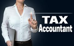tax accountant touchscreen is operated by businesswoman background - stock photo