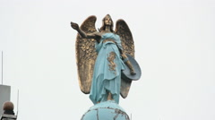 Angel ornamentation on rooftop in Amsterdam, Holland Stock Footage