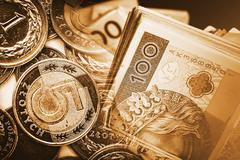 Polish Zloty Trading Financial Concept with Blended Coins and Banknotes Photo - stock photo