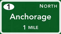 Anchorage USA Interstate Highway Sign - stock illustration