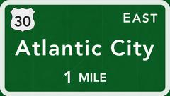 Atlantic City USA Interstate Highway Sign - stock illustration