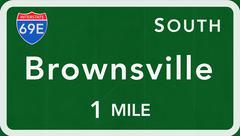 Brownsville USA Interstate Highway Sign - stock illustration