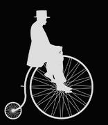 Gentleman On Penny Farthing White Retro Silhouette Stock Illustration