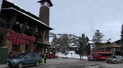 Ski Lodge in Winter Stock Footage