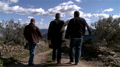 "3 men walking on a path across a natural reserve ""Douro"" OPORTO PORTUGAL Stock Footage"