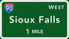 Sioux Falls USA Interstate Highway Sign - stock illustration