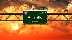 Amarillo USA Interstate Highway Sign in a Beautiful Cloudy Sunset Sunrise - stock illustration