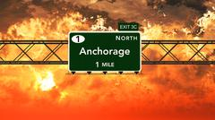 Anchorage USA Interstate Highway Sign in a Beautiful Cloudy Sunset Sunrise Stock Illustration