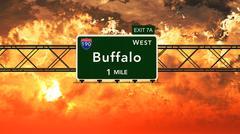 Buffalo USA Interstate Highway Sign in a Beautiful Cloudy Sunset Sunrise - stock illustration