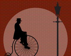 Penny Farthing Gentleman Brick Wall With Spotlight Stock Illustration