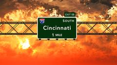 Cincinnati USA Interstate Highway Sign in a Beautiful Cloudy Sunset Sunrise - stock illustration