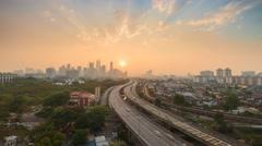 Timelapse Hazy Sunset Kuala Lumpur Skyscrapers - stock footage