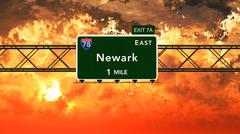 Newark USA Interstate Highway Sign in a Beautiful Cloudy Sunset Sunrise - stock illustration