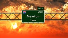 Newton USA Interstate Highway Sign in a Beautiful Cloudy Sunset Sunrise - stock illustration