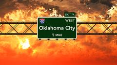 USA Interstate Highway Sign in a Beautiful Cloudy Sunset Sunrise - stock illustration