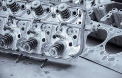 blue toned auto engine - stock photo