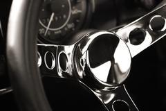 chromed steering wheel - stock photo