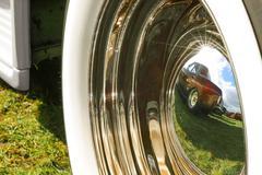 wheel hub reflection - stock photo