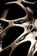 Chromed wheel hub Stock Photos