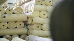 Industrial textile factory - Warehouse tissues. Stock Footage