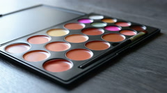 Make-up  colorful cosmetic palette Stock Footage