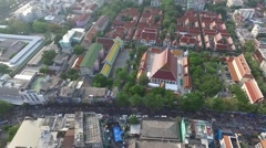 Songkran at Khao San Road and Wat Aerial - stock footage