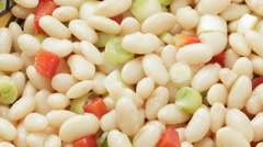 White bean salad with spring onions and red peppers Stock Footage