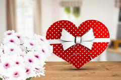 Composite image of heart shaped box of candy - stock illustration