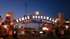 Kemah Boardwalk Amusement Park Stock Footage