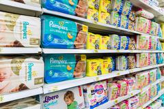 Moscow, Russia-April 24.2016. diapers for children in large store network Auchan - stock photo