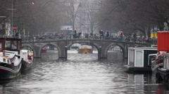 Fast, River Boat Tour Of Amsterdam Netherlands, Holland Stock Footage