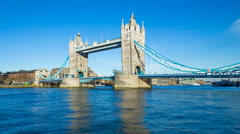 4K Time lapse, Tower Bridge and River Thames, London, England, United Kingdom Stock Footage