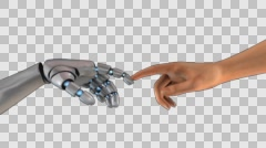3D TOUCHING HANDS Of HUMAN AND CYBORG or The Creation of CYBORG. TWO transitions Stock Footage