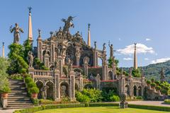 beautiful Garden and  baroque statues - stock photo