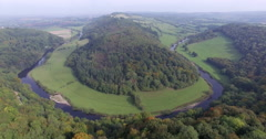 Wye valley towards Ross on Wye, Symonds Yat, Forest of Dean, UK, 4K aerial Stock Footage