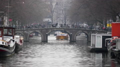 River Boat Tour Of Amsterdam Netherlands, Holland Stock Footage